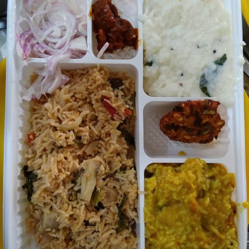 mushroom briyani - curd rice - lunch restaurant pondicherry
